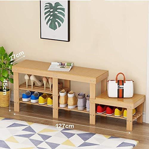 THBEIBEI Storage Benches Schoenenrek Verander schoenenbank Kleine schoenenkast aan de deur Kan op een schoenenbank zitten Opbergkruk bamboe Huishouden Ruimtebesparend Multifunctioneel
