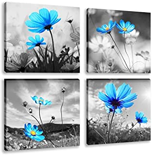 Modern Salon Theme Black and White Peacock Blue Vase Flower Abstract Painting Still Life Canvas Wall Art for Home Decor