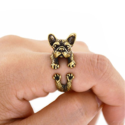 ECYC Vintage Bulldog Animal handgemaakte Franse Bulldog Ring maat verstelbaar