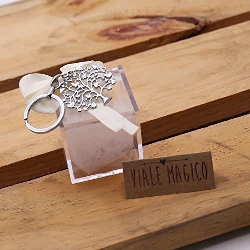 VialeMagico 10 Pezzi Bomboniere Matrimonio Prima Comunione Portachiave Albero della Vita Cuori Acciaio su Plexiglass Confettata