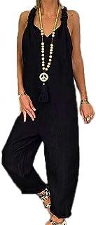 ZIMUUY Femme Combinaison Femme Coton Lin Couleur Pure Manches Courtes