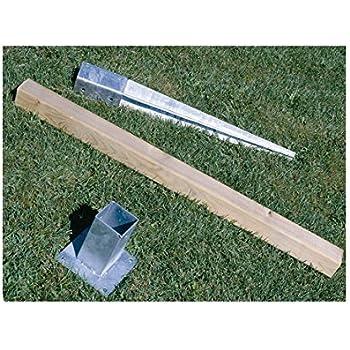 90 x 90 x 750 mm, galvanizado, para postes, soporte de suelo, con anclaje, acero, color plateado Soporte para postes de valla ADGO/®