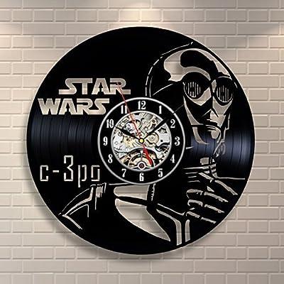 La Bella Casa Star Wars C-3PO Art Wall Clock Vinyl Wall Clock - Get Unique Wall Home Decor - Gift Ideas for Him and Her - Original Handmade Vintage Gift