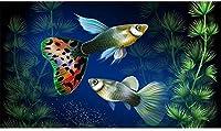 DIY 5Dダイヤモンド塗装モザイクキット水中草水族館魚刺繍ラインストーンギフト壁装飾水