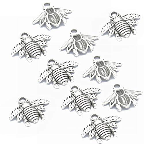 Healifty 50pcs Bee Charm Pendants Retro Jewelry DIY Pendant for Necklace Bracelet Crafts (Antique Silver)