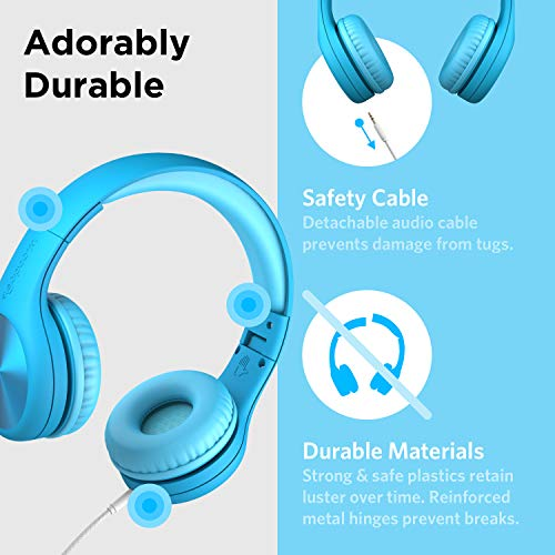 New! LilGadgets Connect+ PRO Kids Premium Volume Limit   ed Wired Headphones with SharePort and Inline Microphone for Children (Blue)