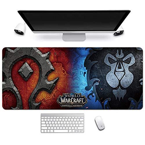 ITBT World of Warcraft Tapis de Souris XL 900x400mm Hydrorésistant Anime Mouse Pad Grand Tapis de Souris Gamer avec Base en Caoutchouc Anti-Glissant Surface Texturée pour Ordinateur et PC, A
