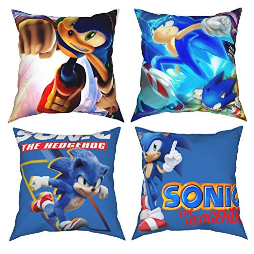 IUYT 4Pcs Square Throw Pillow Covers The Hedgehog So-nic Pillowcases Cushion Cover Suitable for Sofa Bedroom Car 18'x18'