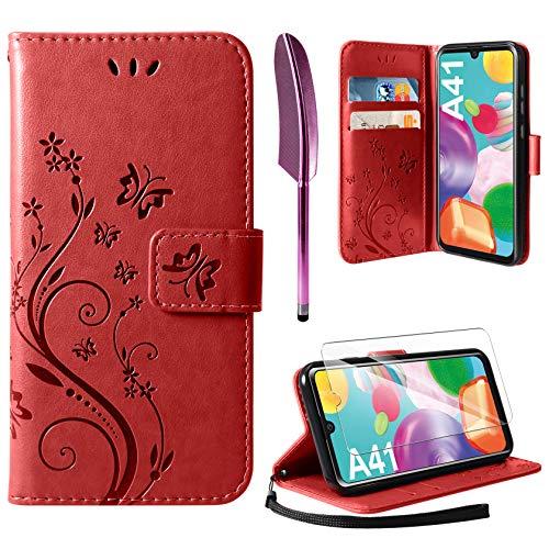 AROYI Lederhülle Kompatibel mit Samsung Galaxy A41 Hülle & Schutzfolie, Flip Wallet Handyhülle PU Leder Tasche Hülle Kartensteckplätzen Schutzhülle Kompatibel mit Samsung Galaxy A41 Rosenrot