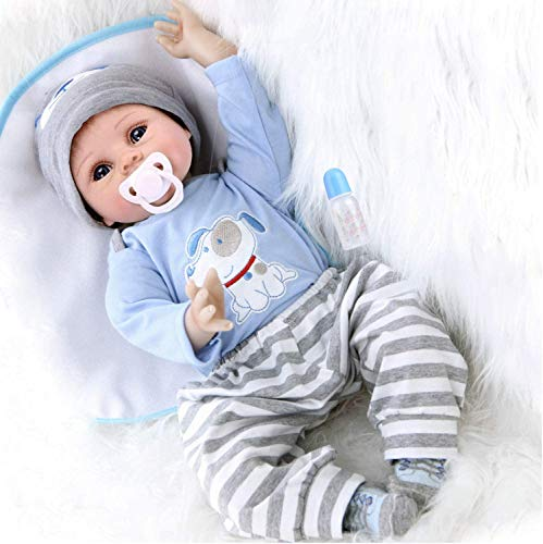 ZIYIUI Reborn Dolls Baby Boy 22 Inches Soft Silicone Natural Vinyl 55cm Hecho a mano Blue Eye Reborn Child Toys para bebés recién nacidos Reborn Doll