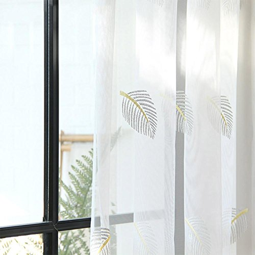 TINE HOME CURTAINS Vorhänge und Vorhänge Gardinen Luxus Weiß Verdickung Feder Stickerei Tüllvorhänge Zum Fensterdekorationen Wohnzimmer Tülle oben Ein Panel, 1pc(400*270 cm