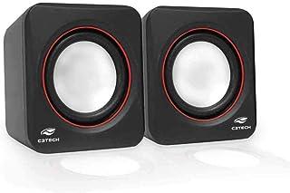 Speaker C3Tech SP-301 Preto - Sistema de audio 2.0 P2 Com Blindagem Eletromagnética alimentacao via porta USB