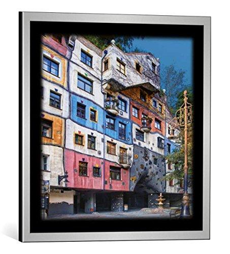 kunst für alle Bild mit Bilder-Rahmen: Friedensreich Hundertwasser Hundertwasser-Haus Wien - dekorativer Kunstdruck, hochwertig gerahmt, 48x48 cm, Silber gebürstet