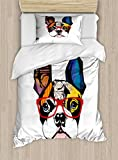 Lunarable Art Duvet Cover Set, French Bulldog Portrait with Hipster Glasses Abstract Modern Colorful Ears and Eyes, Decorative 2 Piece Bedding Set with 1 Pillow Sham, Twin Size, Yellow Ruby