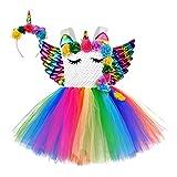 Girls Unicorn Costume Rainbow Flower Tutu Dress Princess Halloween Birthday Party Costumes with Headband and Wings