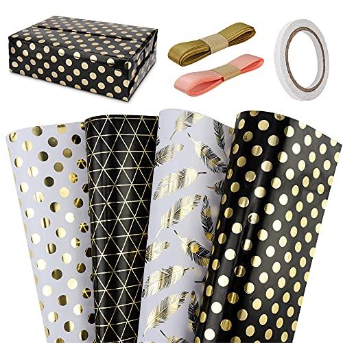 Jooheli Geschenkpapier Set,Edel Premium Geschenkpapier Verpackung,Geschenkpapier Geburtstag für Geschenk Geburtstag Hochzeit Weihnachstgeschenkpapier Geschenkverpackung