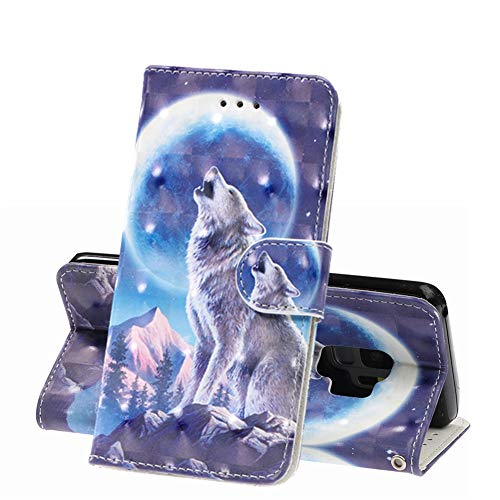 MRSTERUS Galaxy S9 Case 3D Fashion Creative Cute Cover PU Leather Shockproof Flip Notebook Wallet Case Magnetic Bracket Card Slot Folio Bumper Case for Galaxy S9 Moon Wolf Pattern YY