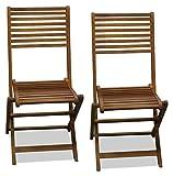 Dos sillas plegables de jardín de madera de eucalipto.