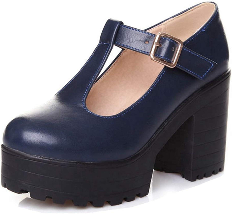 Bonrise Women's Casual Platform Oxfords Mid-Heel Square Toe Slip On Chunky High Heel Dress Pumps shoes