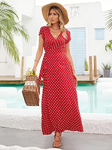 ACHIOOWA Mujer Vestido Elegante Casual Playa Bohemio Dress Lunares Cuello V Manga Corta Escote Fiesta Cóctel Falda Larga Rojo-646313 S