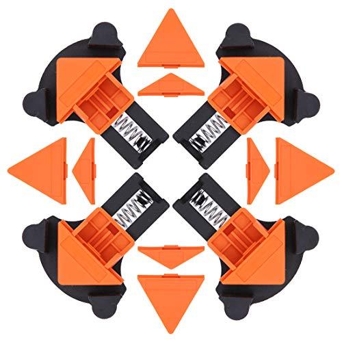 Winkelklemmen-Set, 60/90/120 Grad verstellbare Schwing-Eckklemmen, Eck-Haltewinkel für Schweißen, Holzbearbeitung, Schränke, Bilderrahmen, Holz, Handwerksprojekte, 4 Stück