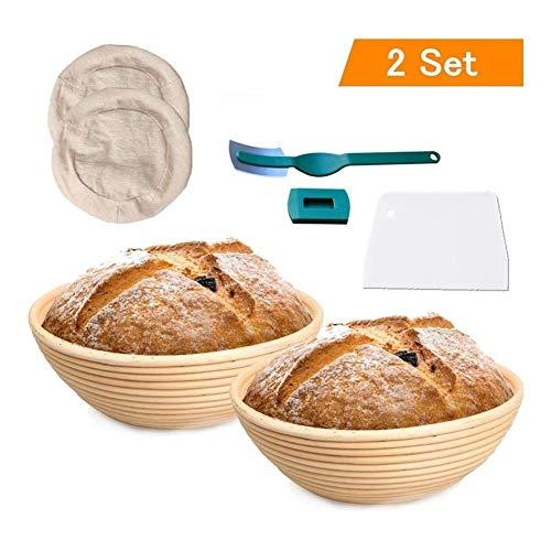 Runde Brot Proofing Korb 2Pack Banneton Brot Proofing Korb for Sauerteig, mit Tuch Liner Bowl Scraper (Size : 25X8.5CM)