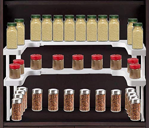 Double2C Expandable and Stackable Spice Rack,2 shelves Pantry & Cabinet Spice Organizer,Non-Skid Spice Storage Holder for Home & Kitchen - White