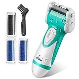 Aparato de pedicura eléctrico O'vinna lima electrónica de húmedo y seco, resistente al agua, elimina las durezas y las callosidades de los piés (4 rodillos)
