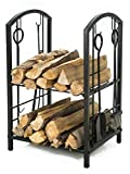 LITHER Fireplace Log Rack with 4 Bin Holder for Fireplace Tool Set Brush Shovel Poker Tongs, Black