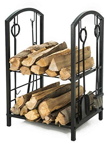 LITHER Fireplace Log Rack with 4 Bin Holder for Fireplace Tool Set Brush Shovel Poker Tongs, Black