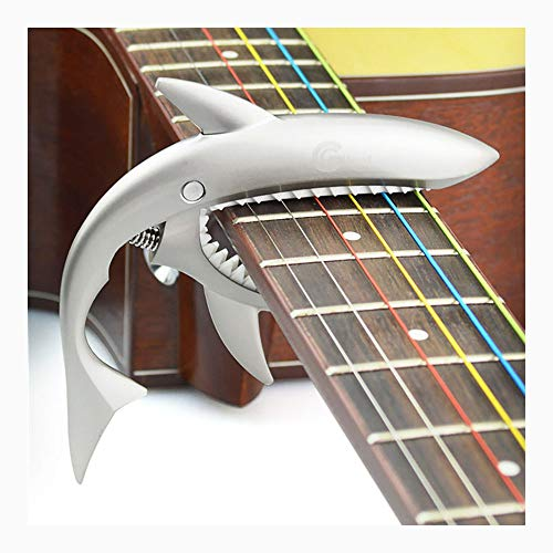 PSTBWYL Metallgitarren-Capo für E-Gitarre, Bass, 6-saitig, Gitarrenteile, Capos, Matt-Silber