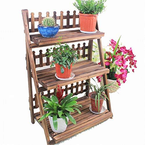 Bois massif pliant en bois cadre de fleurs en bois carbonisé salon balcon trois étages étage fleur pot fleur étagère offre spéciale (taille : 70cm)