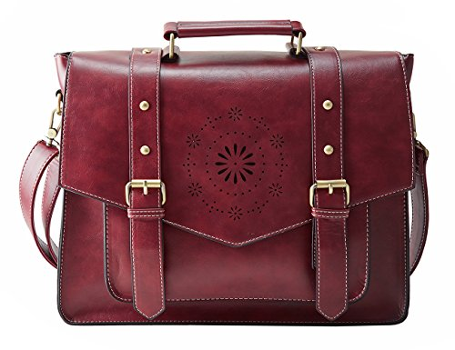 ECOSUSI Women 14' Briefcase Laptop Messenger Bag School Satchel Large Shoulder Bag Red