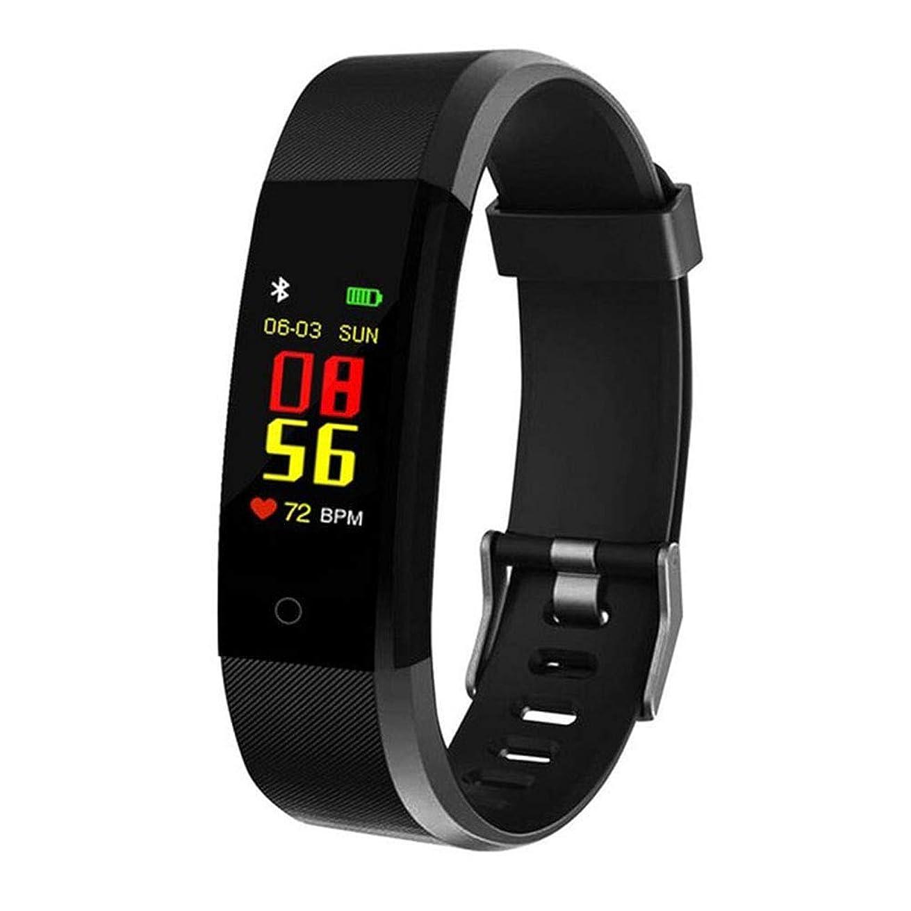 YIZHEN New 115plus Smart Watch, 0.96 Inch Color Screen Smart Bracelet Sport Blood Pressure Exercise Dynamic Heart Rate Monitoring Smart Watch,Black
