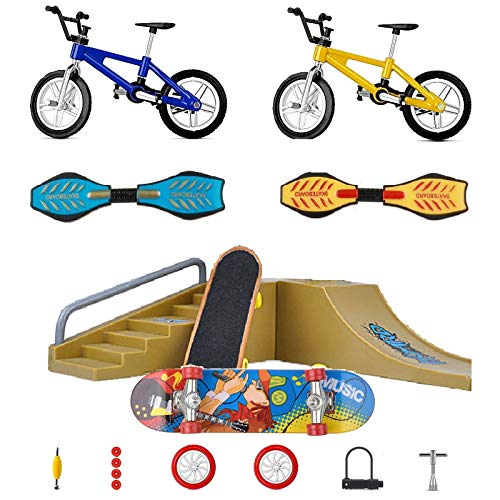 Yoeevi Mini Finger Sports Park Ramp Toys Set, Skateboards/Bikes/Swing Boards/ Replacement Wheels and Tools with Ramp and Rail Park Stair Educational Finger Toy Set for Kids Party Favor