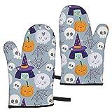 Mayblosom, guanti da forno per Halloween, con teschi, zucca, ragnatela, resistenti al calore, guanti da cucina antiscivolo per cucinare, cuocere, grigliare, microonde e barbecue (1 paio)