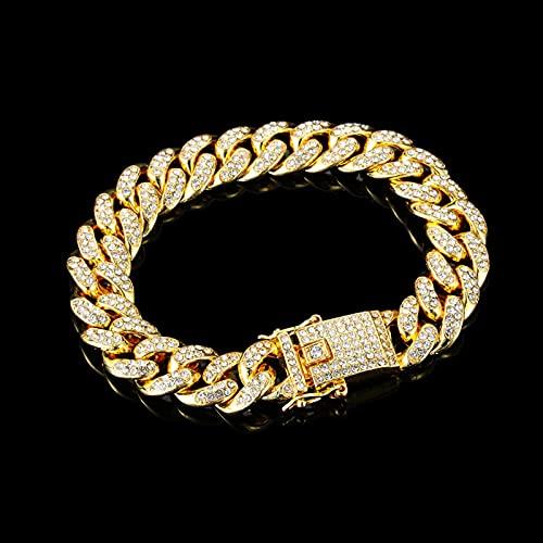 Nicey Pulsera de Rhinestone de Moda de Lujo Mujeres Hiphop Cuban Link Bracelets Simple Design Gold Silver Color Jewelry Regalos