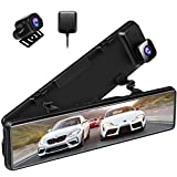 XTU 2.5K Mirror Dash Cam with 12'' IPS Touch Screen,Dual Lens Dash Camera, Front and Rear View Mirror Camera Waterproof Backup Camera,Sony Starvis Sensor,Parking Assistance and GPS Included
