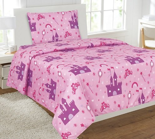 Elegant Home Princess Palace Castle Pink Purple 3 Piece Printed Twin Sheet Set with Pillowcase Flat Fitted Sheet for Girls / Kids/ Teens # Princess Palace