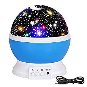 Kids Star Night Light, 360-Degree Rotating Star Night Projector and 8 Colors Changing, Best for Party Decorations and Best Gift for a Baby's Bedroom