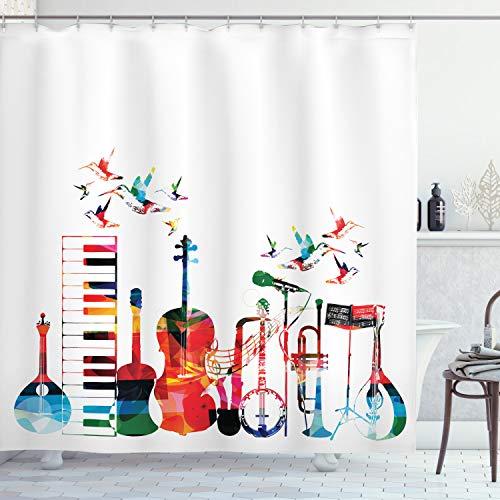 ABAKUHAUS Musik Duschvorhang, Bunte Instrumente, mit 12 Ringe Set Wasserdicht Stielvoll Modern Farbfest & Schimmel Resistent, 175x180 cm, Mehrfarbig