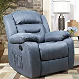 Tuoze Fabric Massage Recliner Chair Ergonomic Single Sofa Living Room Chair Modern Recliner Seat Home Theater Seating (Blue)