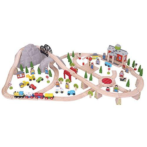 Bigjigs Rail Ensemble de Chemin de Fer en Bois de Montagne – 112 pièces