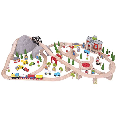 Bigjigs Rail de Chemin de Fer de Montagne en Bois 112 pièces de Jeu