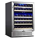 Aneken 24 inch Wine Cooler, 48 Bottle Dual Zone Wine Refrigerator Built-in or Freestanding Wine Fridge with Advanced Cooling System Blue Interior Light Silent with Low Vibrations Stainless Steel