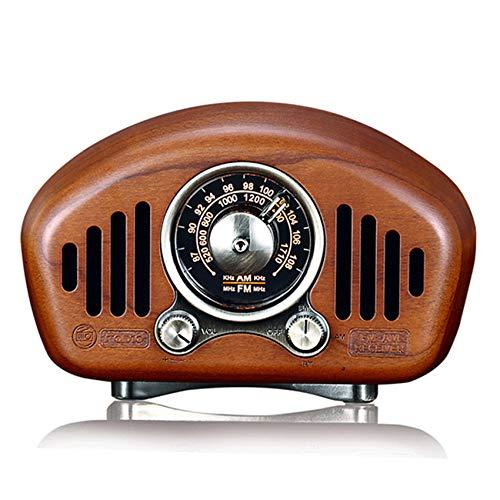QAZ Radio de Madera Antigua, Radio portátil Am/FM, Altavoz Bluetooth 5.1, Ranura para Tarjeta TF y Reproductor de MP3, Mejora de Graves Fuertes, Volumen Alto,B