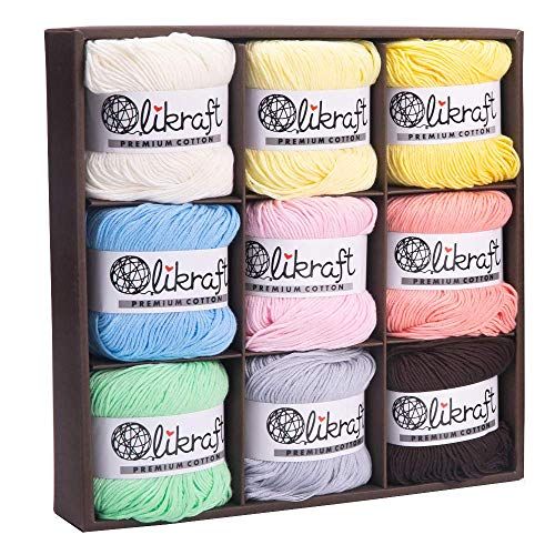 100% Pure Premium Natural Soft Cotton Yarn Collection Set for Knitting Crochet and Amigurumi. Pack of 9 Skeins. Sport Baby Weight. 50g and 185 Yards (2 (Fine / Sport), Pastel Collection)