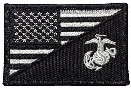 Papapatch USMC United States Marine Corps EGA/American USA Flag Sew on Iron on Embroidered Applique Patch - Black & White (Iron-USMC/USA-BKWH)