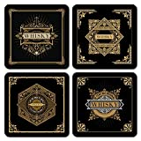 Interluxe LED Untersetzer 4er Set mit GRATIS ERSATZBATTERIEN - Black Whisky - Vier leuchtende luxuriöse Untersetzer als Geschenk für Whiskytrinker oder Whisky-Tasting