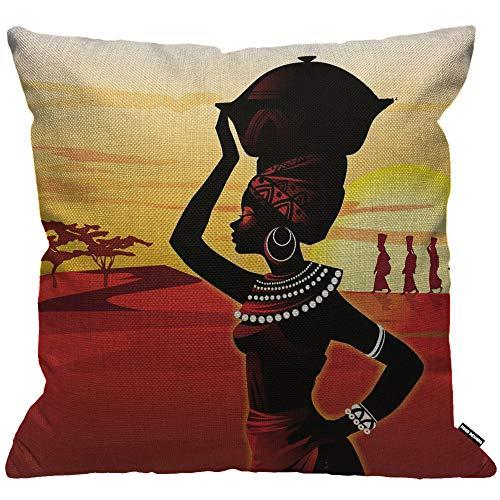 HGOD DESIGNS Kissenbezug Afrikanische Frauen Gehen Auf Der Wüste Sonnenuntergang Rot Gelb Schwarz Kissenhülle Haus Dekorativ Für Jungen/Mädchen Wohnzimmer Schlafzimmer Kissenbezüge 45X45cm